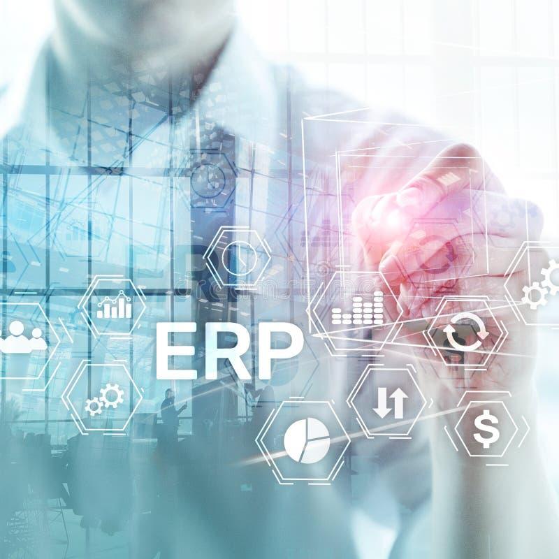 Система ERP, планирование ресурса предприятия на запачканной предпосылке Автоматизация дела и концепция нововведения стоковое изображение rf