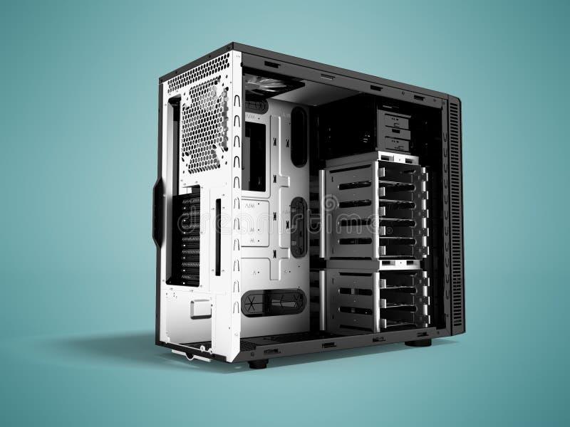 Системный блок металла пустого 3d черноты персонального компьютера представляет o бесплатная иллюстрация