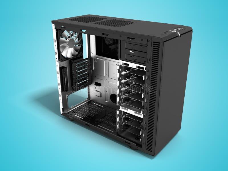 Системный блок современного металла черный пустой для собрания 3d компьютера представить на голубой предпосылке с тенью иллюстрация штока