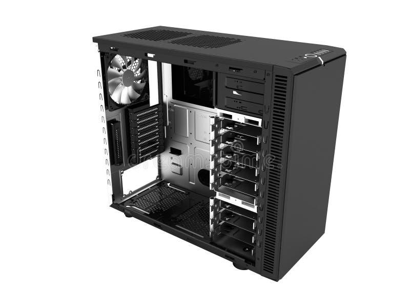 Системный блок современного металла черный пустой для re собрания 3d компьютера иллюстрация штока
