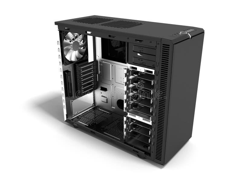 Системный блок современного металла черный пустой для re собрания 3d компьютера бесплатная иллюстрация