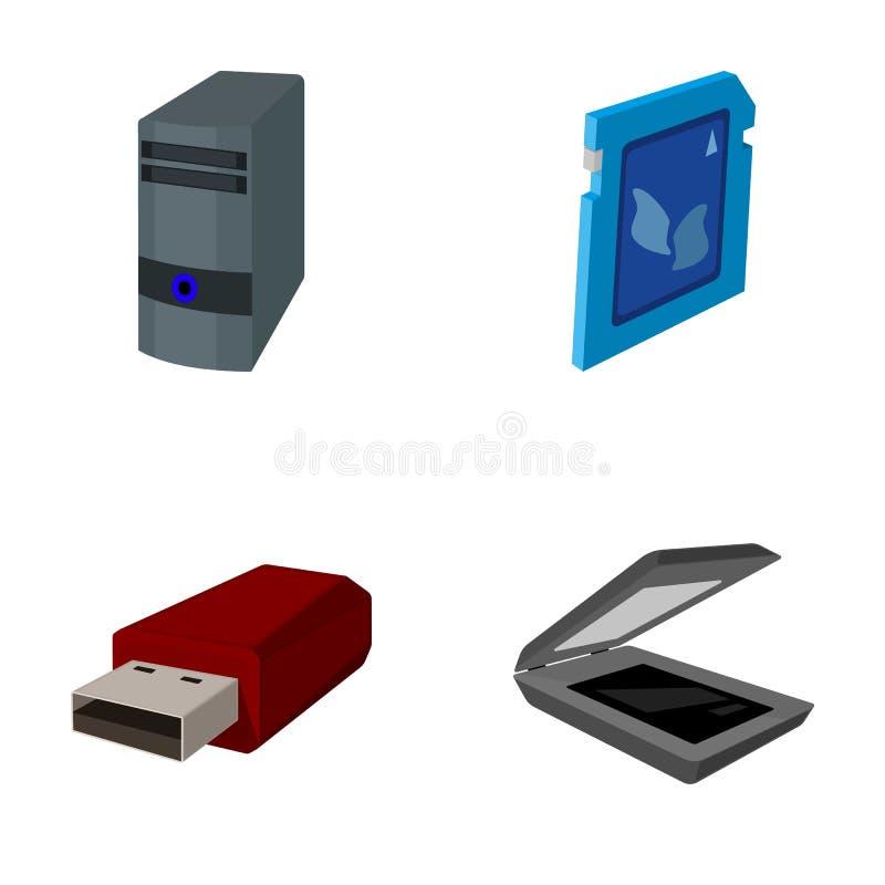 Системный блок, внезапный привод, блок развертки и карточка SD Значки собрания персонального компьютера установленные в шарже вво бесплатная иллюстрация