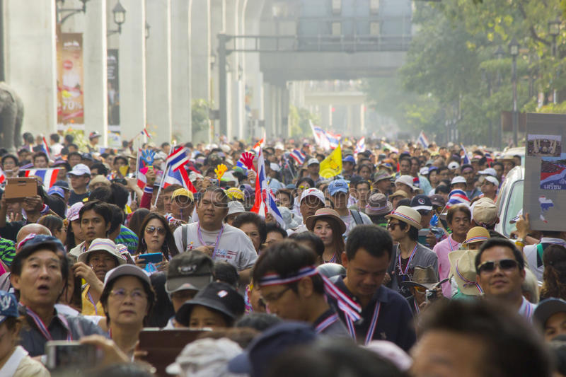 Ситуация протеста Бангкока в Таиланде стоковое фото rf