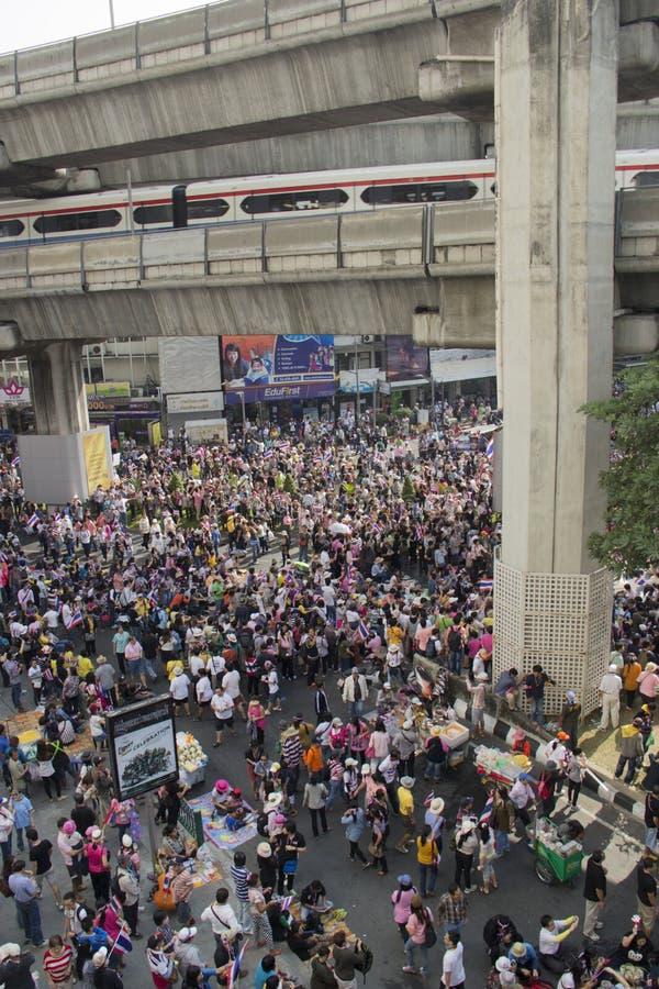 Ситуация протеста Бангкока в Таиланде стоковая фотография rf