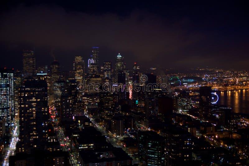 СИЭТЛ, ВАШИНГТОН, США - 23-ье января 2017: горизонт городского Сиэтл, взгляд от вершины иглы космоса во время a стоковые изображения rf