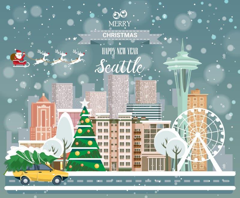 Сиэтл, с Рождеством Христовым и счастливый Новый Год! бесплатная иллюстрация
