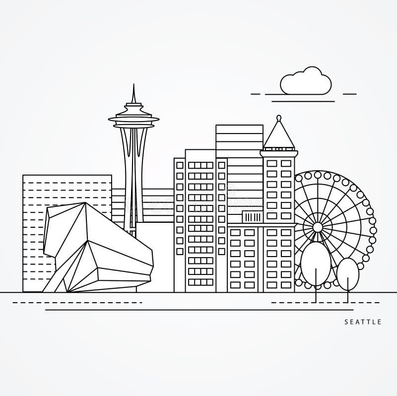 Сиэтл одна линия дизайн бесплатная иллюстрация