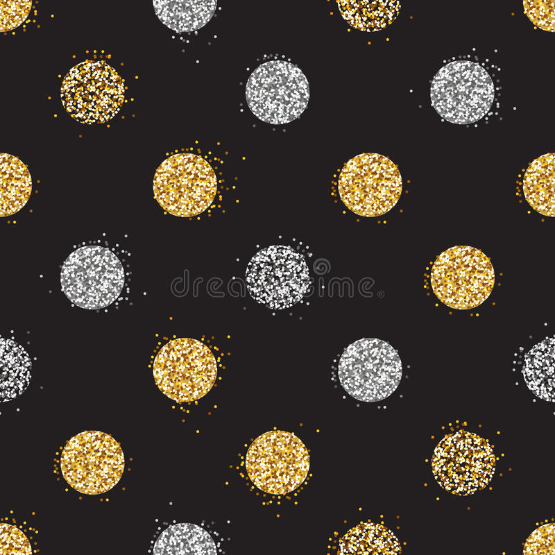 Сияющая безшовная предпосылка с золотым и серебряным ярким блеском ставит точки decorat иллюстрация вектора