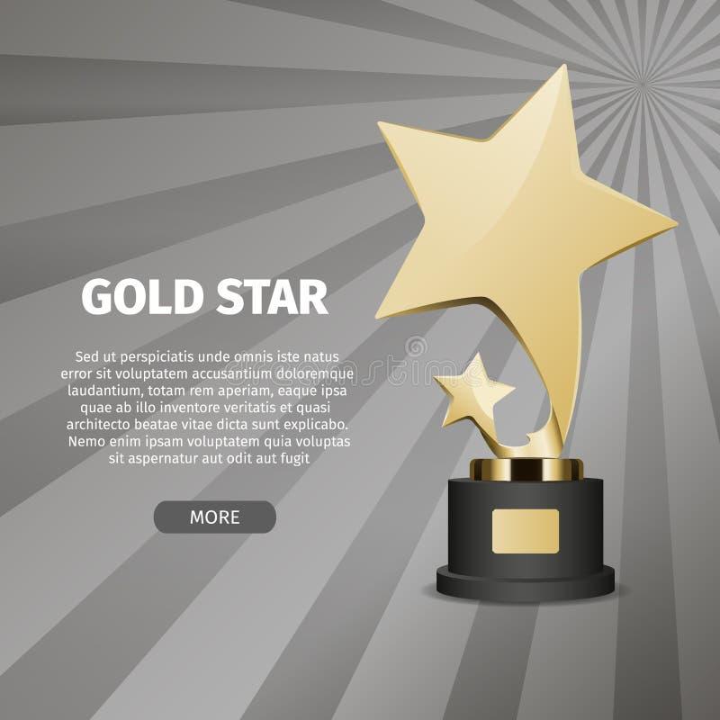 Сияющая звезда золота на иллюстрации стойки реалистической иллюстрация вектора