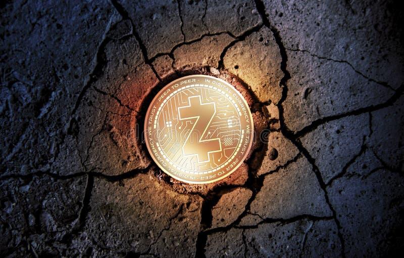 Сияющая золотая монетка cryptocurrency Z-CASH на сухой предпосылке десерта земли минируя иллюстрацию перевода 3d стоковая фотография rf