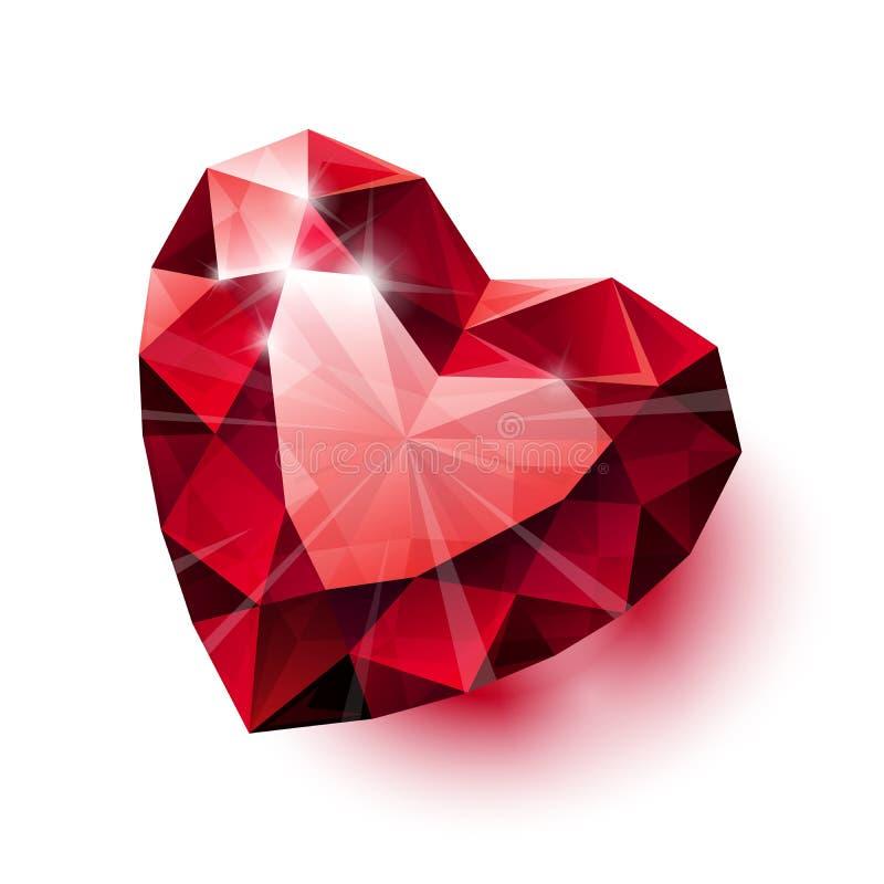 Сияющая изолированная красная рубиновая форма сердца с тенью дальше бесплатная иллюстрация