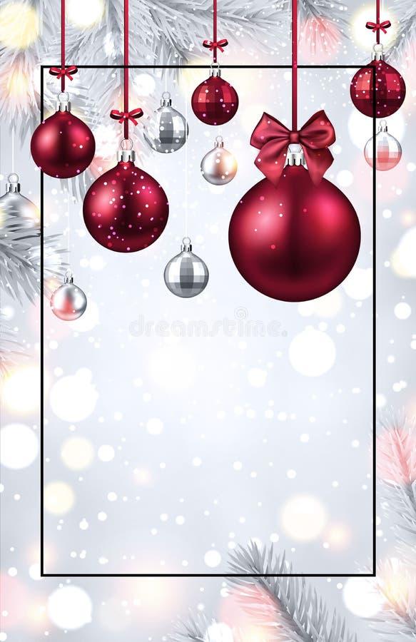 Сияющая карта рождества и Нового Года с красными шариками рождества бесплатная иллюстрация