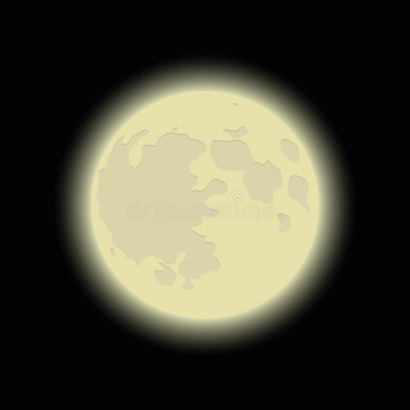 Сияющая луна на темной предпосылке иллюстрация штока