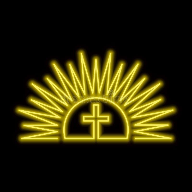 Сияющая неоновая вывеска солнца и креста Концепция Resurection Яркое glo иллюстрация штока
