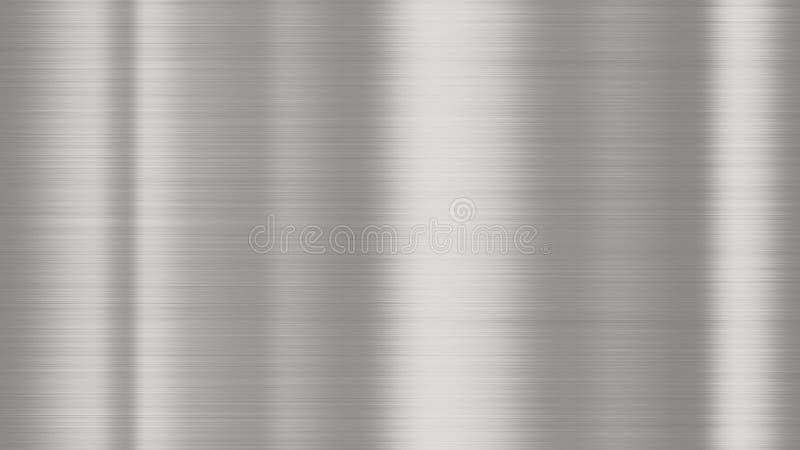 Сияющая почищенная щеткой текстура предпосылки металла Отполированный металлический серебр металлического листа стальной пластины стоковая фотография rf