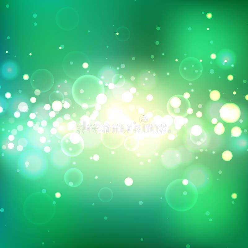 Сияющая предпосылка лета с световыми эффектами Взрыв зеленого цвета иллюстрация вектора