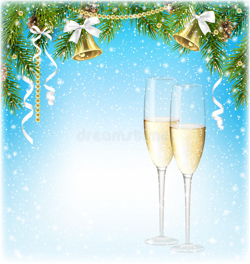 Сияющая предпосылка рождества с игристым вином Шампанью колоколами a иллюстрация вектора