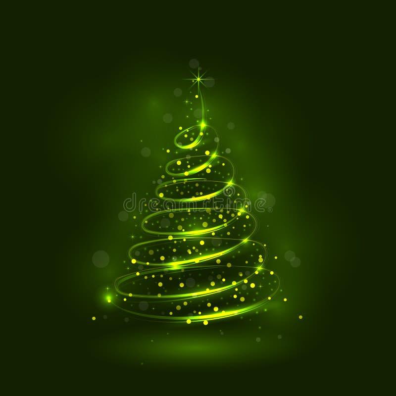 Сияющая рождественская елка, волшебная рождественская елка бесплатная иллюстрация