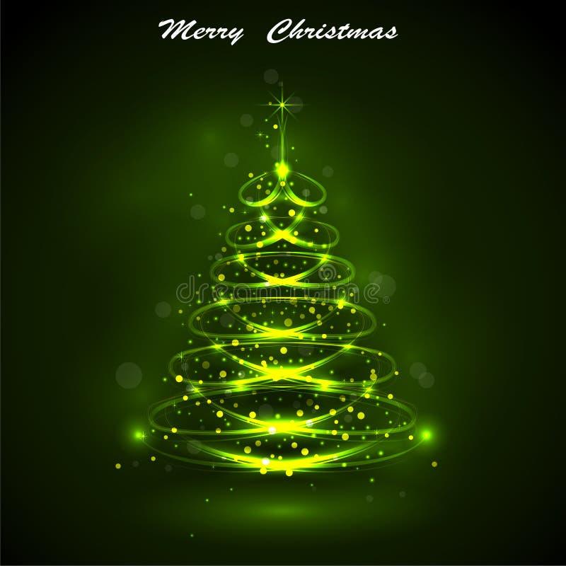 Сияющая рождественская елка, волшебная рождественская елка иллюстрация штока