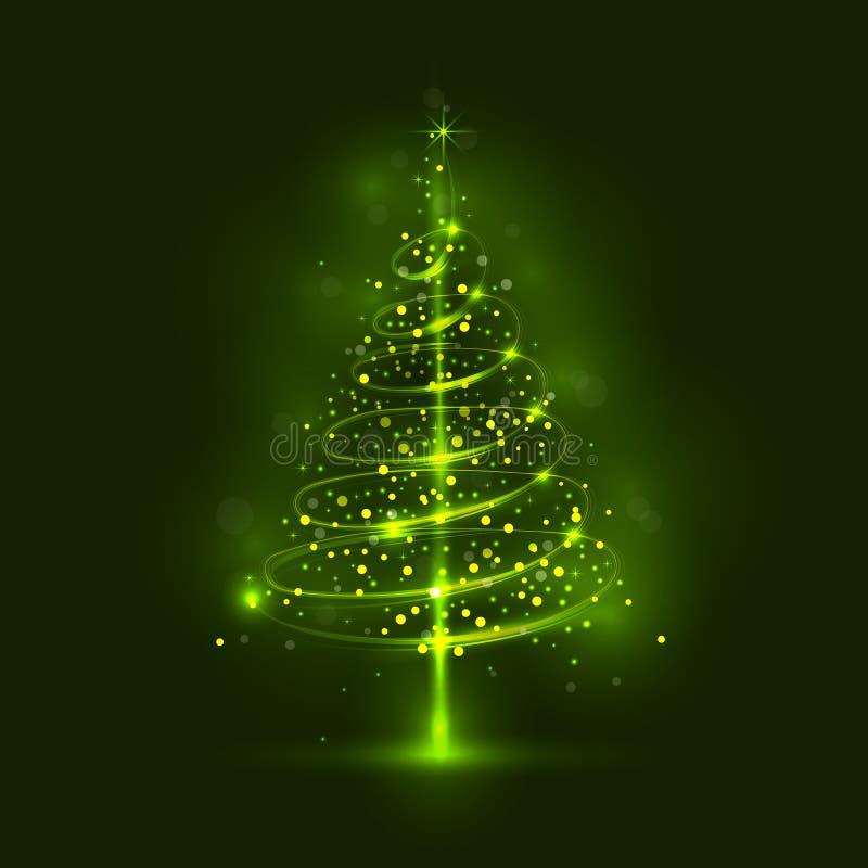 Сияющая рождественская елка, волшебная рождественская елка иллюстрация вектора