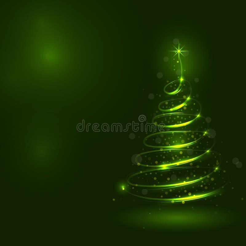 Сияющая рождественская елка, волшебная рождественская елка, shinny christm иллюстрация вектора