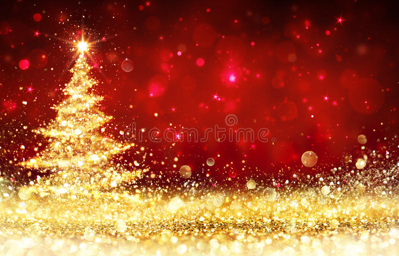 Сияющая рождественская елка - золотой яркий блеск сверкная иллюстрация штока