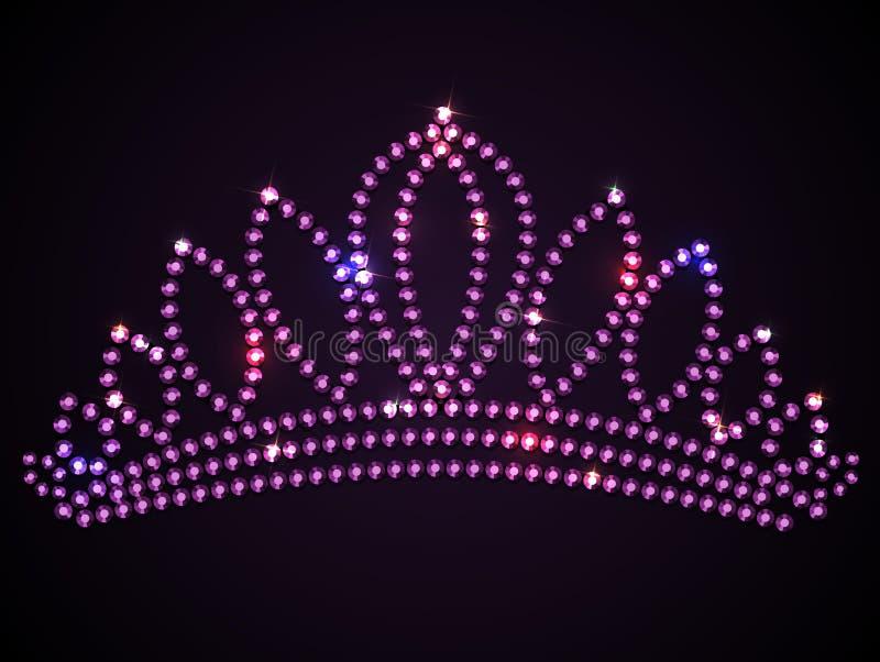 Сияющая розовая тиара с sparkles - vector иллюстрация diadem, eps10 иллюстрация штока