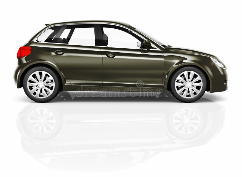 Сияющая темная ая-зелен съемка студии компактного автомобиля иллюстрация вектора