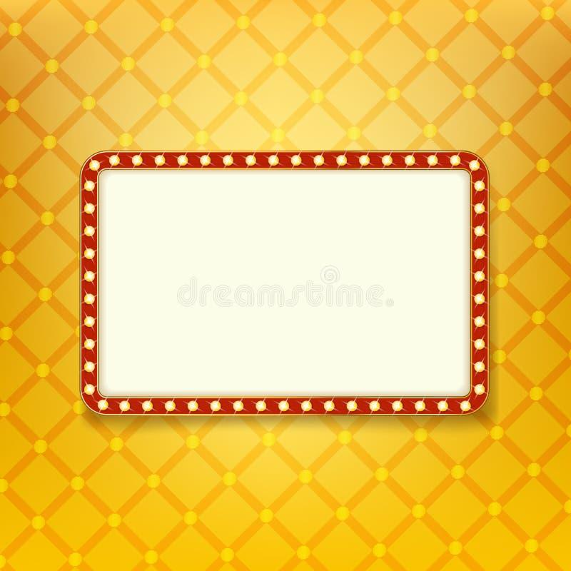 Сияющее светлое знамя ретро золотая рамка с неоновыми светами иллюстрация штока