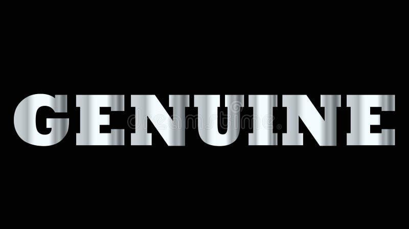 Сияющее серебряное слово прописной буквы неподдельное иллюстрация штока