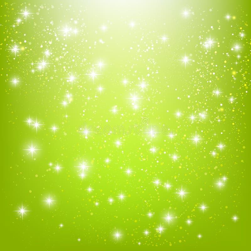 Сияющие звезды на зеленом цвете иллюстрация штока