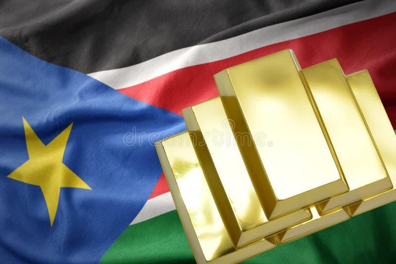 Сияющие золотые миллиарды на южном Судане сигнализируют стоковые изображения rf