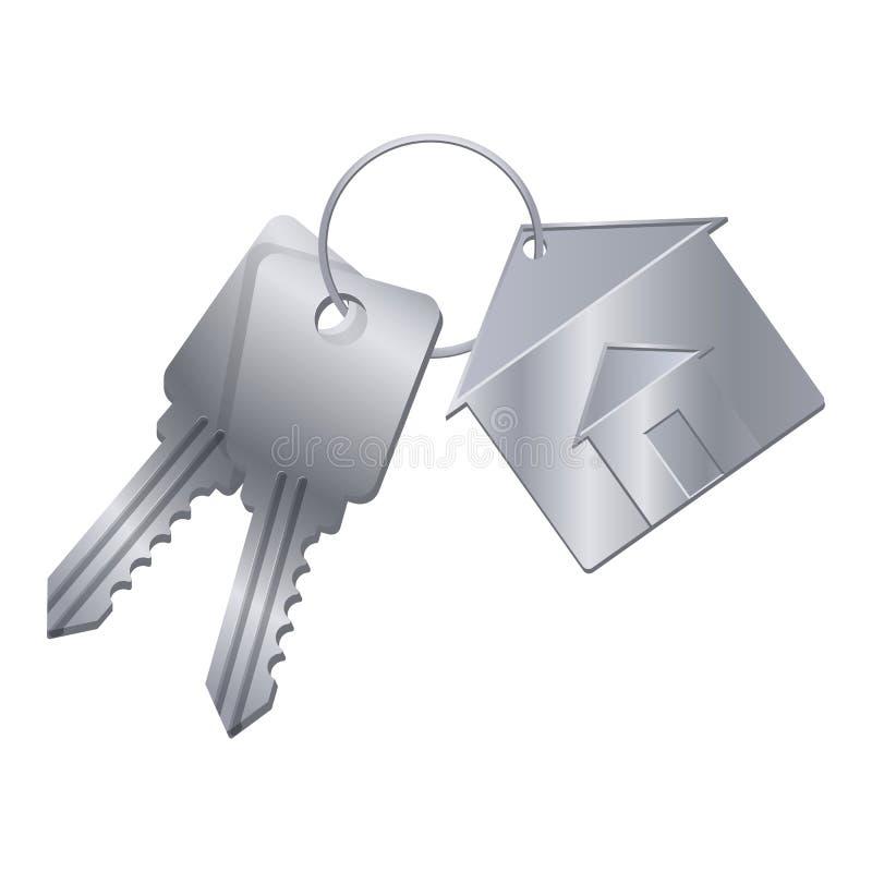 Сияющие ключи металла с серебряной побрякушкой от дома мечты иллюстрация вектора