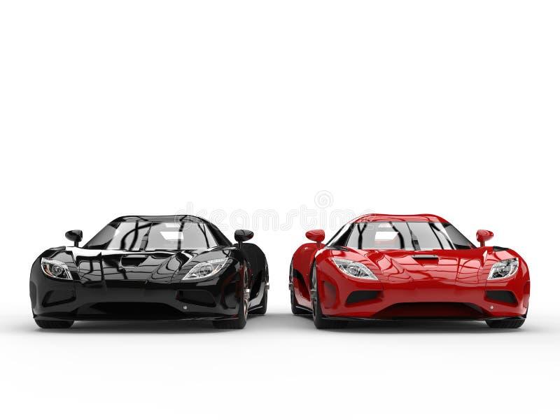 Сияющие новые черные и красные автомобили концепции спорта - сторона - мимо - вид спереди сбокуое иллюстрация вектора