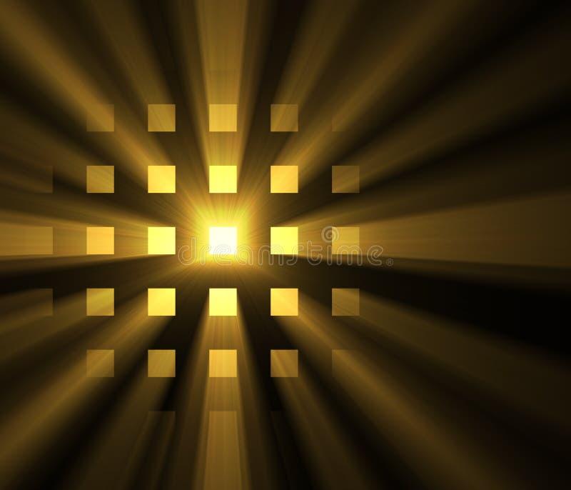 Сияющие светлые квадратные пирофакелы венчика солнца решетки иллюстрация вектора