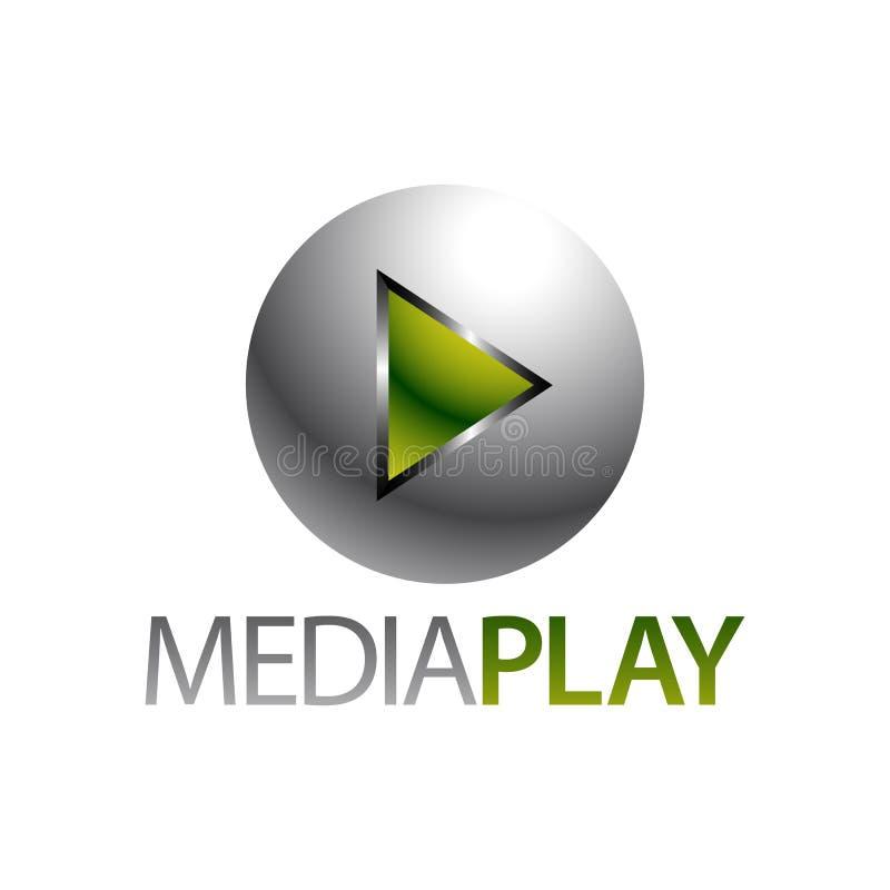 Сияющие средства массовой информации зеленого цвета сферы играют шаблон дизайна концепции логотипа значка иллюстрация вектора