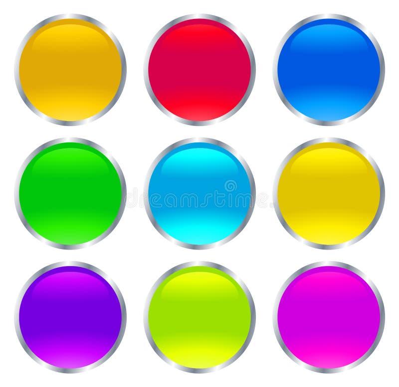 Сияющие стеклянные кнопки и значки сети иллюстрация вектора