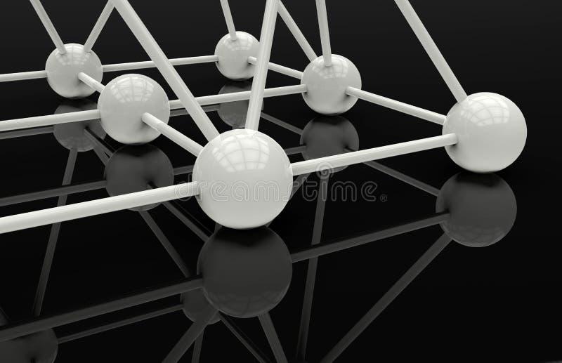 Сияющие сферы соединенные в сети иллюстрация вектора