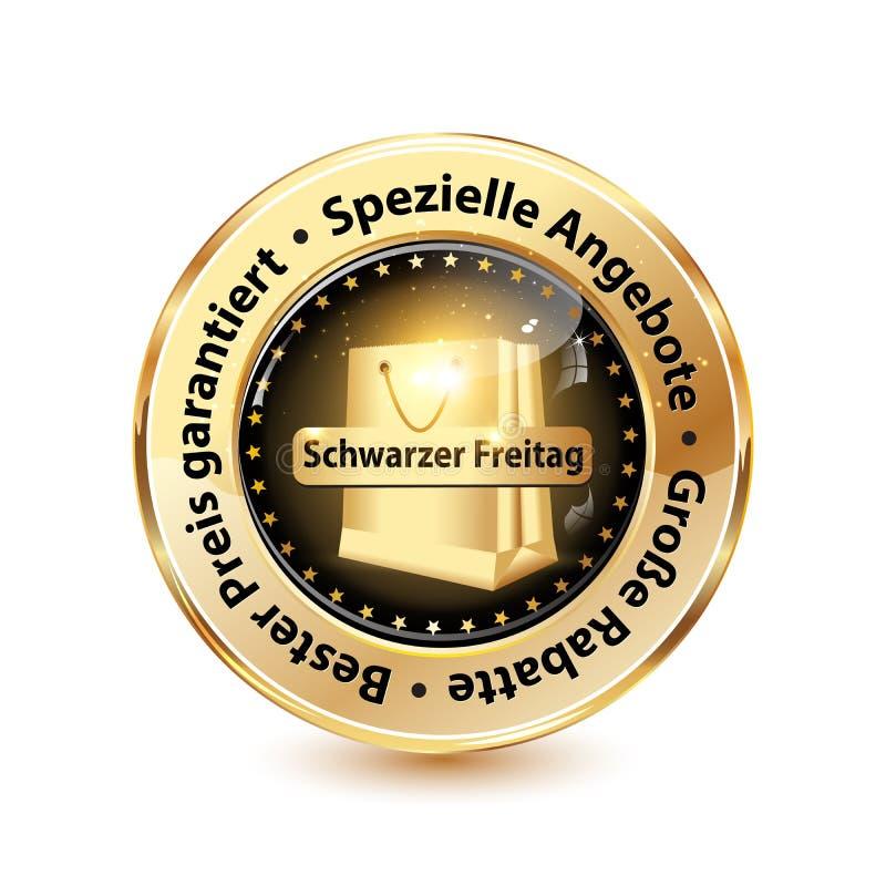 Сияющие черные значок/кнопка пятницы конструировали для немецкого розничного рынка иллюстрация вектора