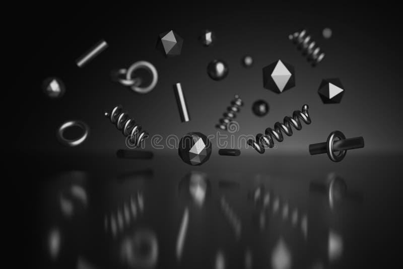 Сияющие черные примитивы poligonal с металлической текстурой бесплатная иллюстрация