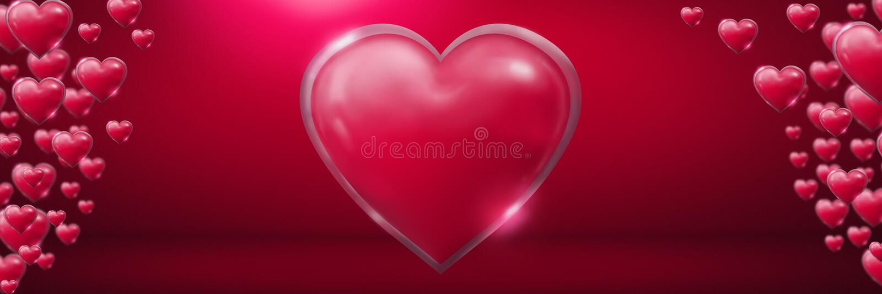 Сияющие шипучие напитк сердца валентинок в розовой комнате иллюстрация вектора