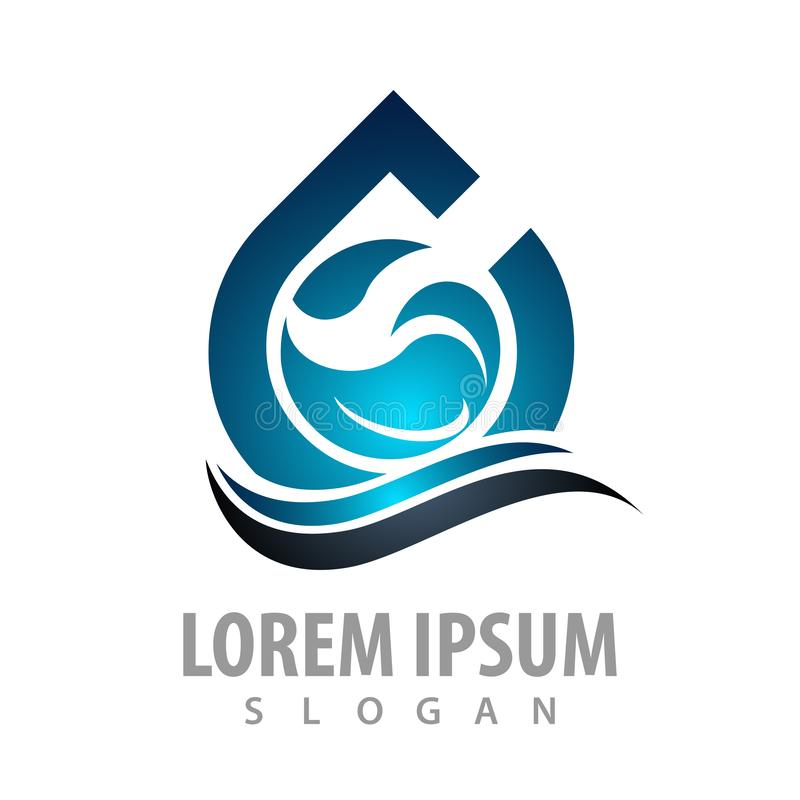 Сияющий дизайн концепции волны падения воды Вектор элемента шаблона символа графический иллюстрация штока