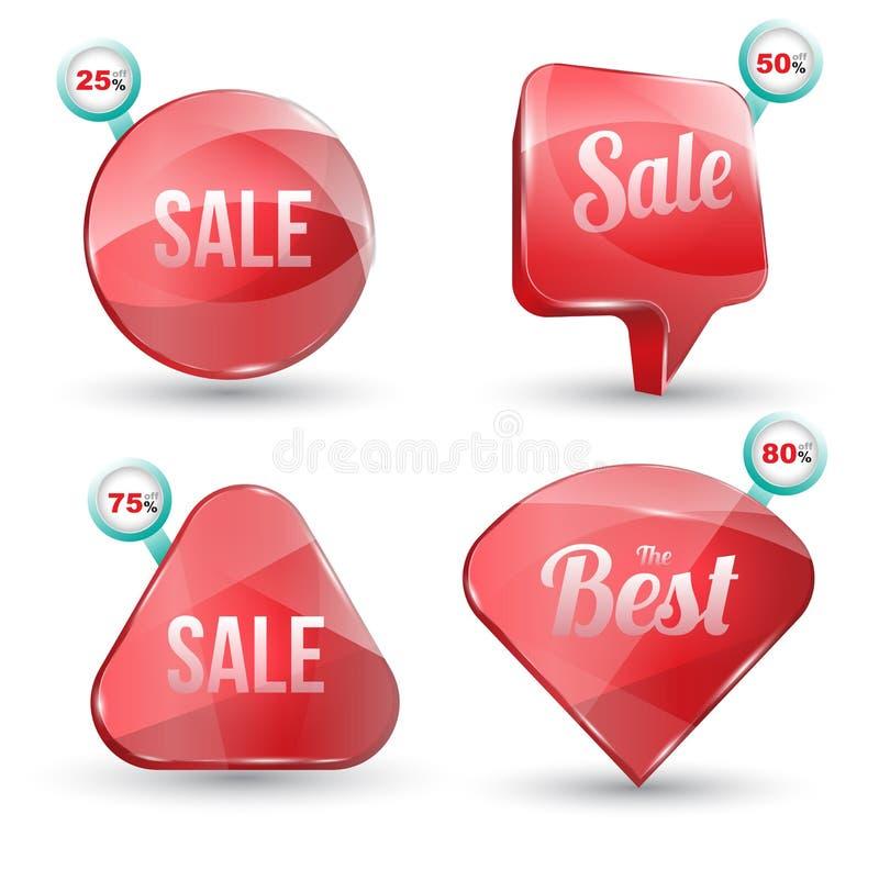Сияющий комплект продажи Красного знамени лоска бесплатная иллюстрация