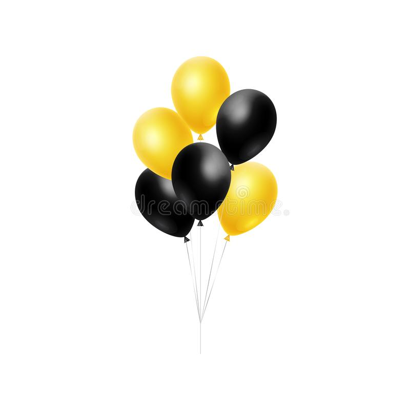 сияющий пук 3d воздушных шаров гелия плавая в воздух изолированный на белой предпосылке иллюстрация штока