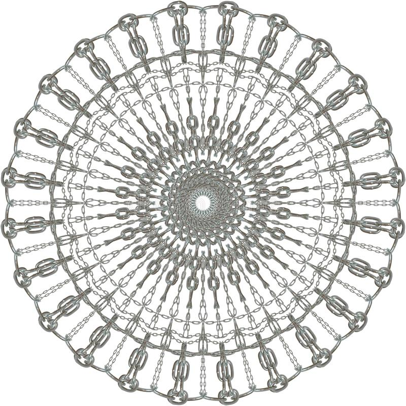 Сияющий серебряный цепной вектор мандалы бесплатная иллюстрация