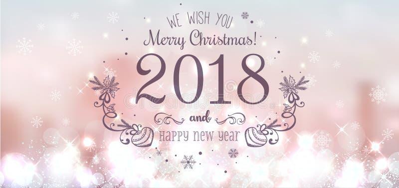 Сияющий шарик рождества на с Рождеством Христовым 2018 и Новый Год на красивой предпосылке с светом, звездами, снежинками бесплатная иллюстрация