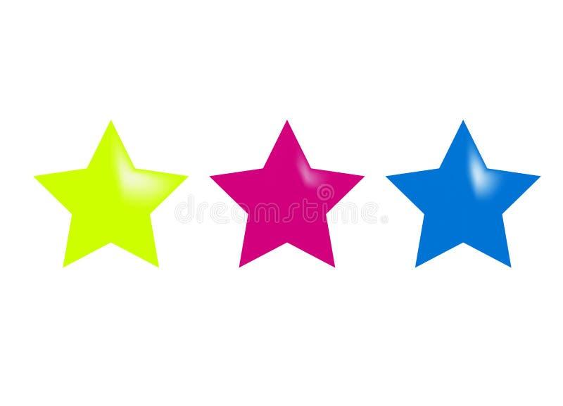 3 сияющих лоснистых звезды иллюстрация штока
