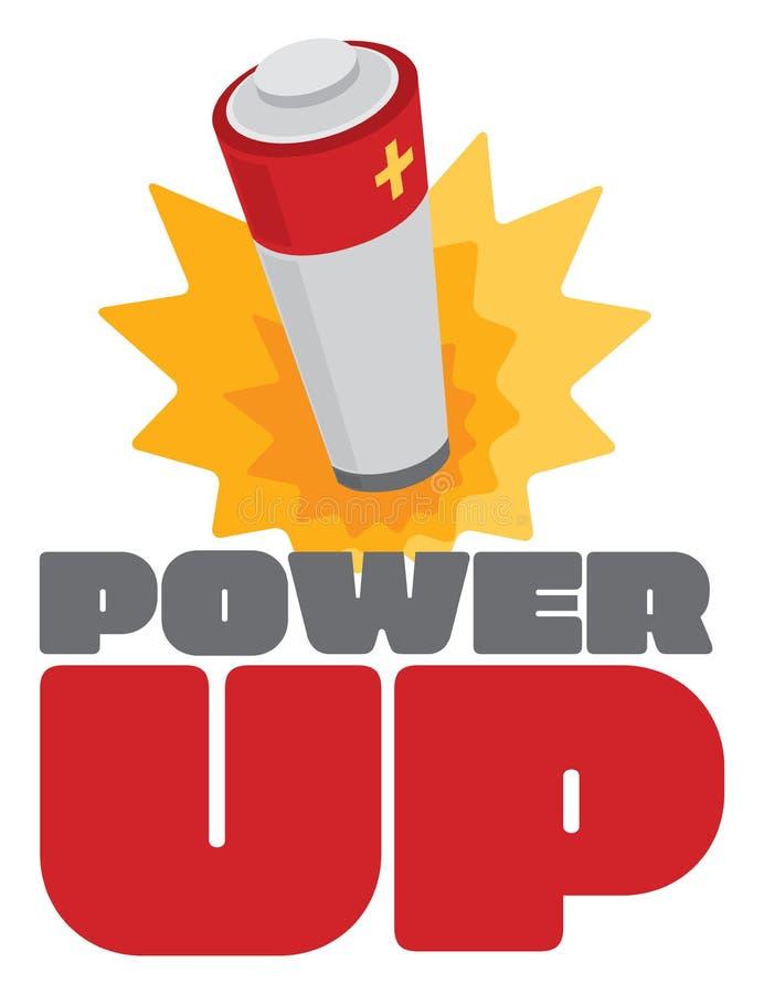 Сила вверх по знаку с взрывом энергии батареи иллюстрация штока