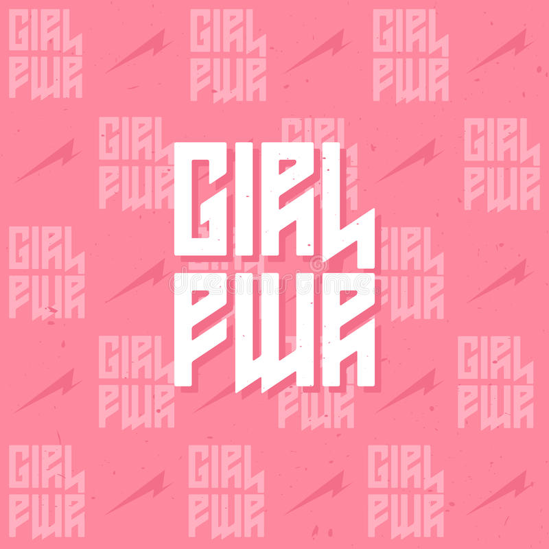Сила девушки - предпосылка феминистского движения Женщина мотивационный sl иллюстрация штока