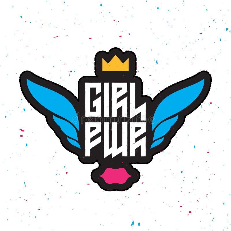 Сила девушки - феминист лозунг, заплата модной потехи girly иллюстрация штока